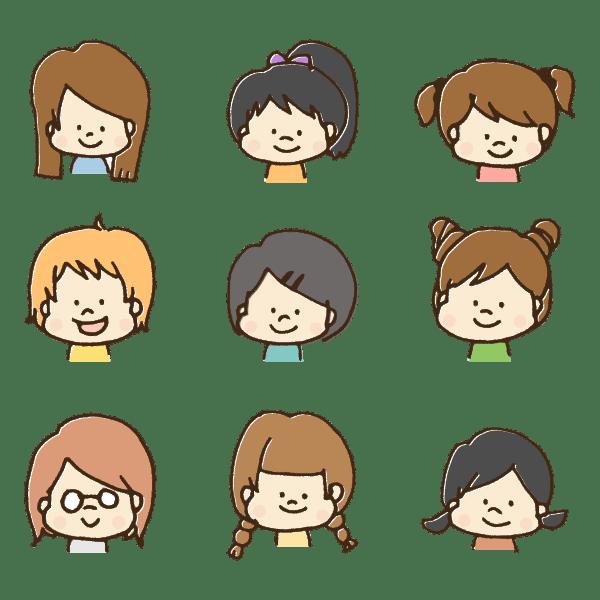 たくさんの女の子の顔のイラスト