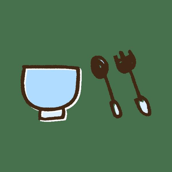 青色のベビー食器のかわいい手書き商用無料イラスト素材
