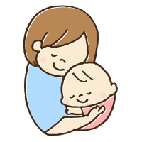 赤ちゃんを優しく抱っこするお母さんのかわいい手書き商用無料イラスト素材