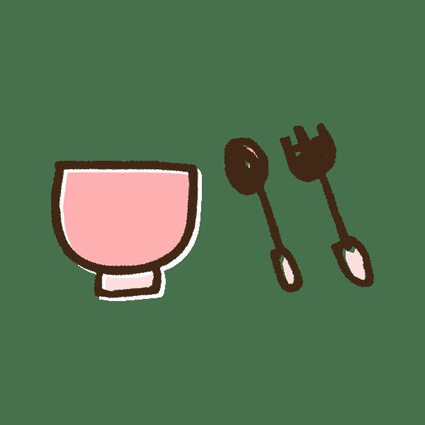 ピンクのベビー食器のかわいい手書き商用無料イラスト素材