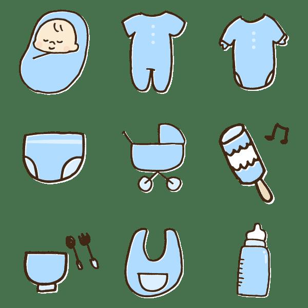 たくさんの男の子用赤ちゃんグッズのかわいい手書き商用無料イラスト素材