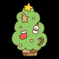 飾り付けされたクリスマスツリーのかわいい手書き商用無料イラスト素材