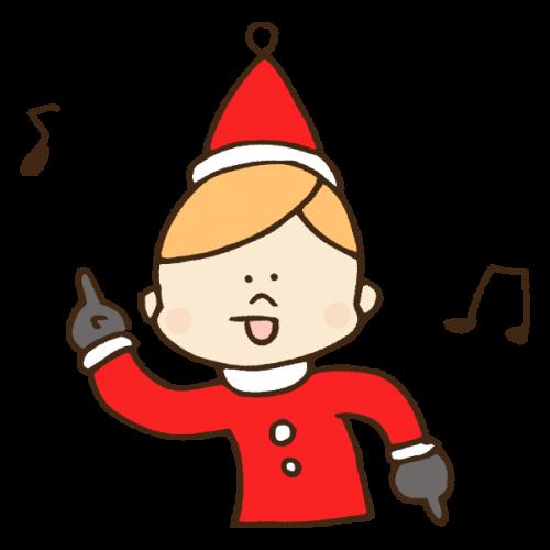 クリスマス衣装で謎ダンスしながらはしゃぐ男性のかわいい手書き商用無料イラスト素材