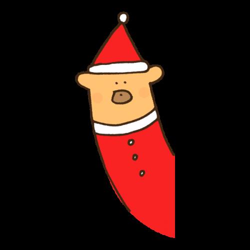 ひょっこり顔を出すクリスマス衣装のクマのかわいい手書き商用無料イラスト素材