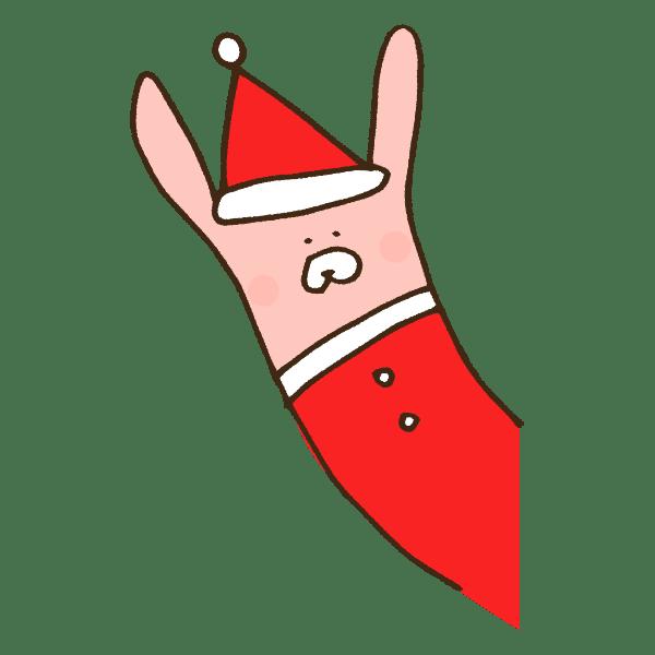 ひょっこり顔を出すクリスマス衣装のうさぎのかわいい手書き商用無料イラスト素材