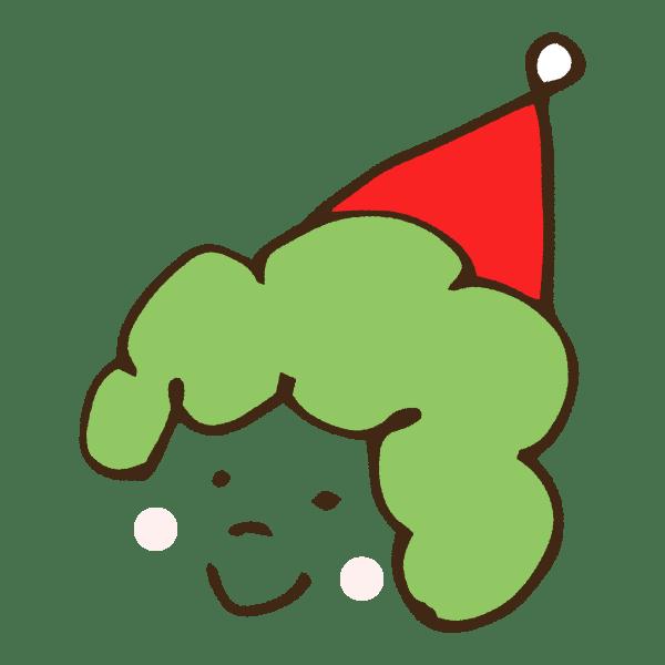 クリスマス衣装のパーマヘアの子供のかわいい手書き商用無料イラスト素材