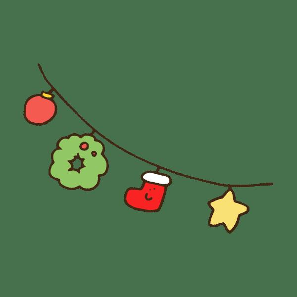 クリスマスの飾り・ガーランドのかわいい手書き商用無料イラスト素材