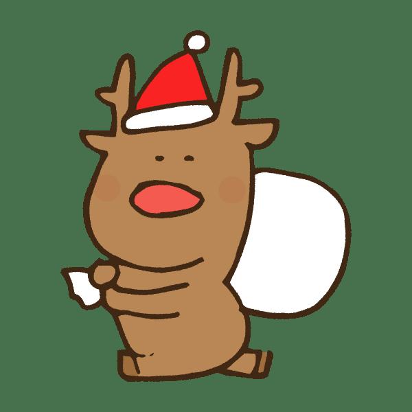 プレゼントを持って走るクリスマス衣装のトナカイのかわいい手書き商用無料イラスト素材