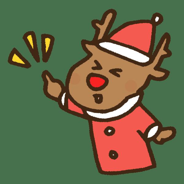 ワンポイントを指差す元気なクリスマストナカイのかわいい手書き商用無料イラスト素材