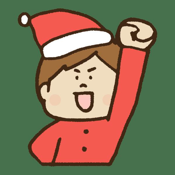 拳を上げて意気込むクリスマス衣装の男性のかわいい手書き商用無料イラスト素材