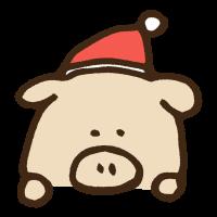 覗き見するクリスマス衣装の豚のイラスト