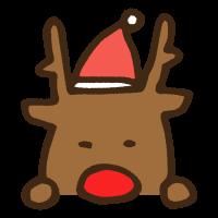 覗き見するクリスマス衣装のトナカイのイラスト
