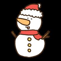クリスマスファッションで喜ぶ雪だるまのかわいい手書き商用無料イラスト素材