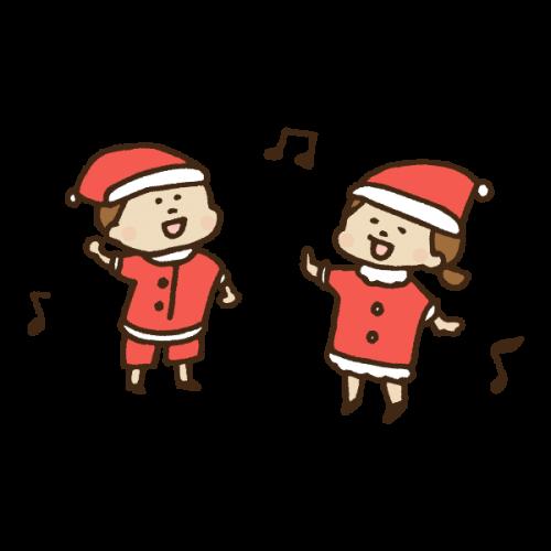 クリスマスソングを歌う子供のかわいい手書き商用無料イラスト素材