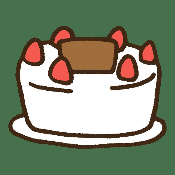 シンプルないちごの生クリームケーキのかわいい手書き商用無料イラスト素材