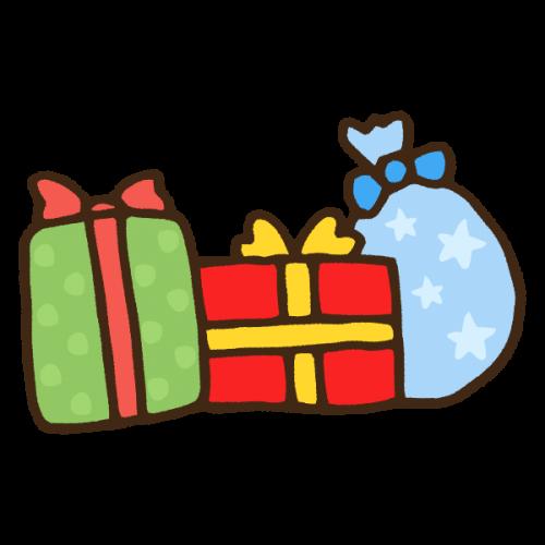 たくさんのクリスマスプレゼントのかわいい手書き商用無料イラスト素材