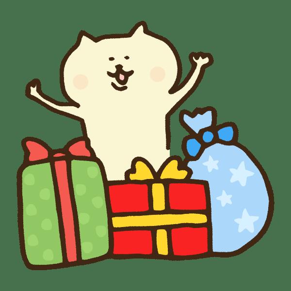 クリスマスプレゼントに喜ぶ猫のかわいい手書き商用無料イラスト素材