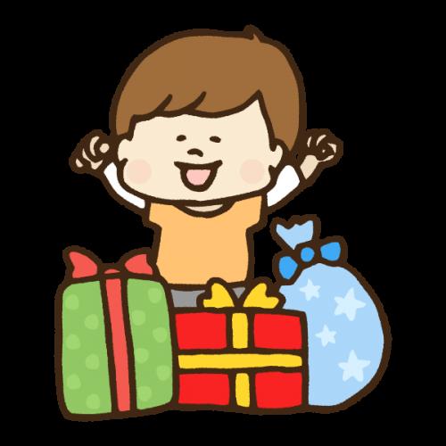 クリスマスプレゼントに喜ぶ男の子のかわいい手書き商用無料イラスト素材