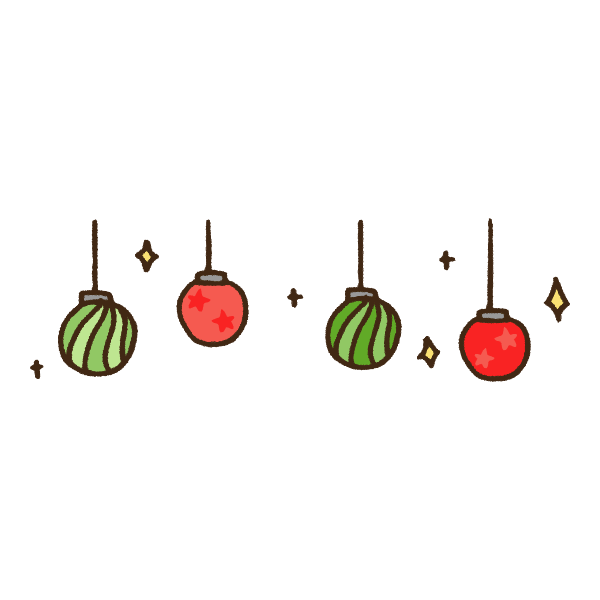 クリスマス丸型ランプのガーランドのかわいい手書き商用無料イラスト素材