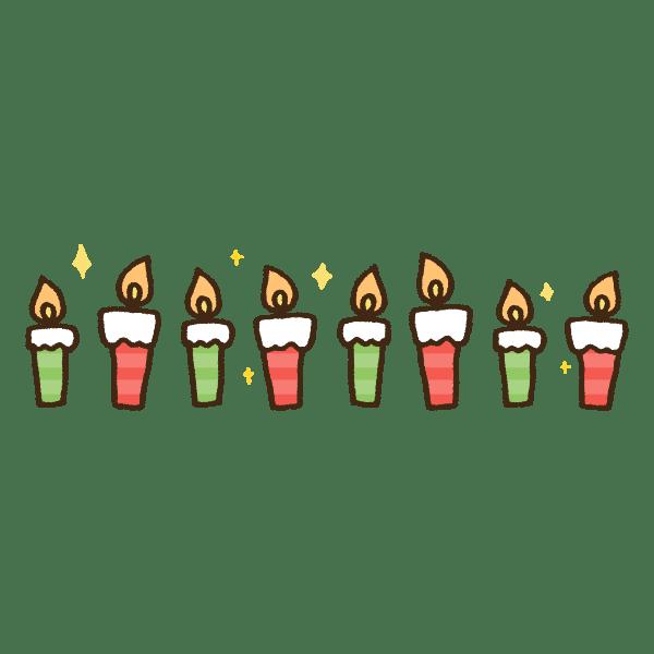 クリスマスカラーのキャンドルライトのライン装飾かわいい手書き商用無料イラスト素材