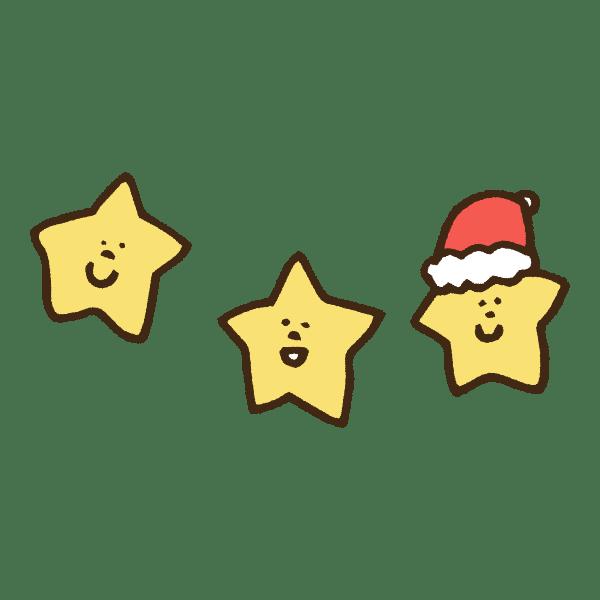 にっこり笑ってる星とクリスマスの帽子のかわいい手書き商用無料イラスト素材