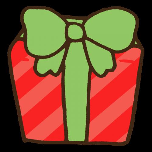 リボンに包まれたクリスマスプレゼントのかわいい手書き商用無料イラスト素材