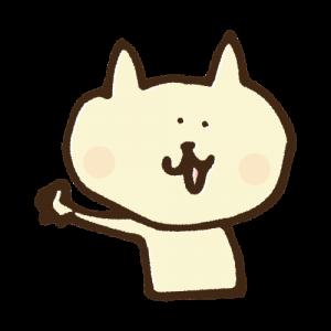 ゆるい猫が手を振っている手書きイラスト素材