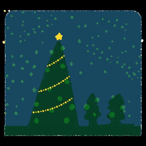 クリスマスのツリーとイルミネーションのかわいい手書き商用無料イラスト素材