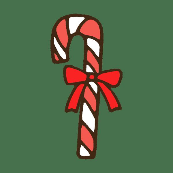 クリスマスのキャンディケインのかわいい手書き商用無料イラスト素材