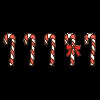 たくさんのクリスマスのキャンディケインのかわいい手書き商用無料イラスト素材