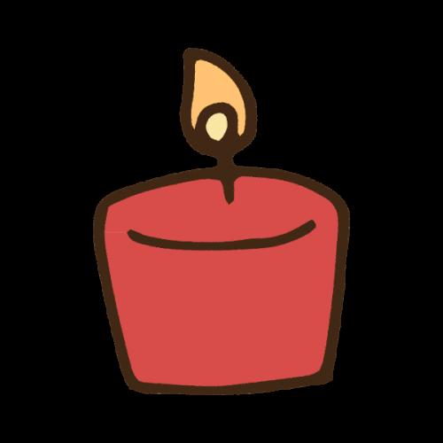 クリスマスカラーのキャンドルのかわいい手書き商用無料イラスト素材
