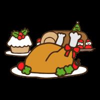 クリスマスの豪華なディナーのかわいい手書き商用無料イラスト素材