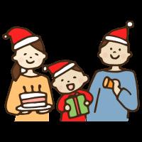 クリスマスパーティーをする家族のかわいい手書き商用無料イラスト素材