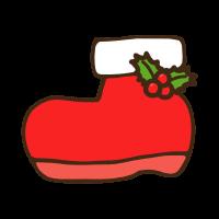 クリスマスブーツのかわいい手書き商用無料イラスト素材
