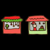 クリスマスマーケットのかわいい手書き商用無料イラスト素材