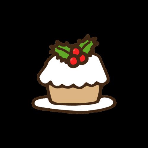 クリスマスのミニケーキのかわいい手書き商用無料イラスト素材