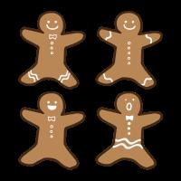 ジンジャーマンクッキーのかわいい手書き商用無料イラスト素材