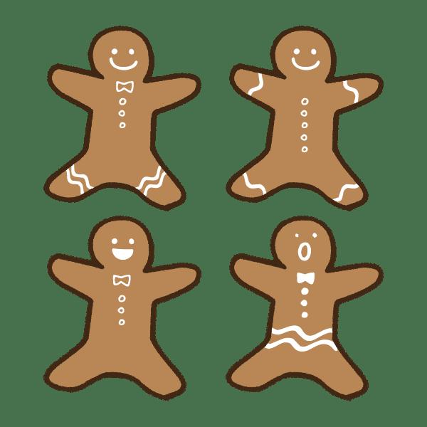 ジンジャーマンクッキーのかわいい手書き商用無料イラスト素材 てがき