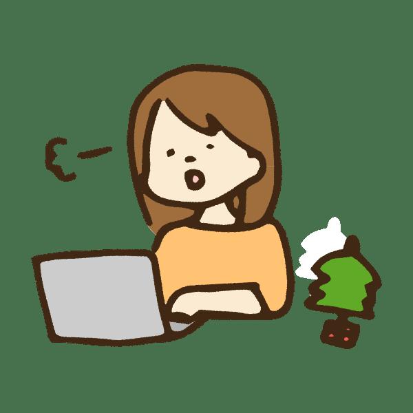 クリスマスの日にパソコン仕事をする女性のかわいい手書き商用無料イラスト素材
