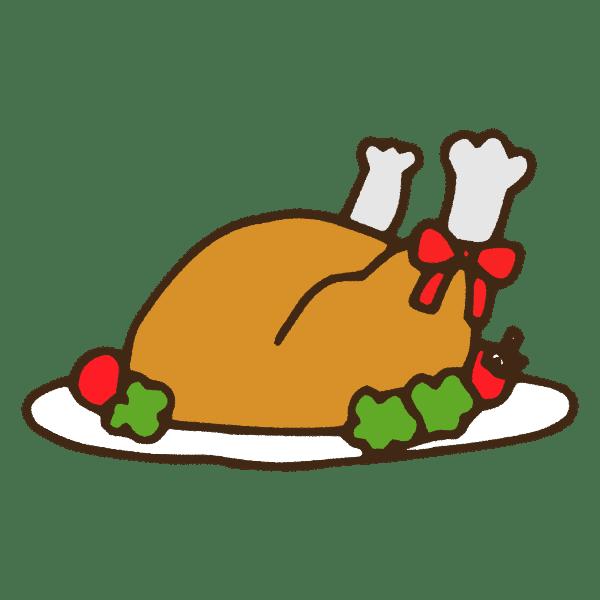 クリスマスの七面鳥の丸焼きのかわいい手書き商用無料イラスト素材
