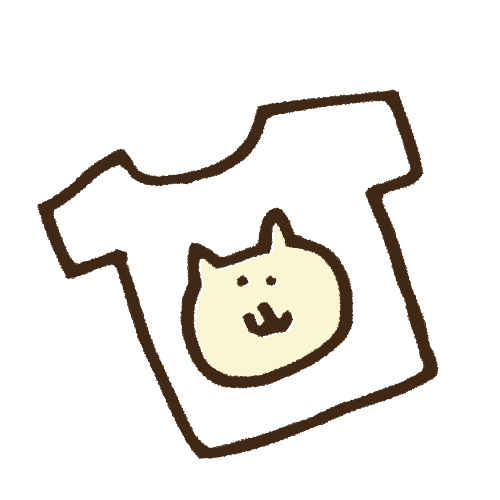 猫のTシャツのゆるい手書きイラスト素材