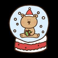 クリスマスのテディベアのスノードームのかわいい手書き商用無料イラスト素材