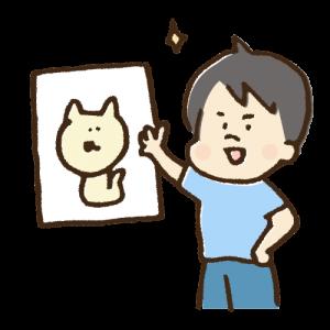 絵を紹介している人の手書きイラスト素材