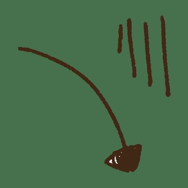 下降する矢印の手書きイラスト素材