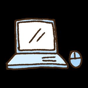 ノートパソコンとマウスの手書きイラスト素材