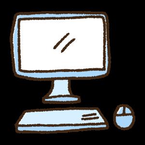 デスクトップパソコンとマウスの手書きイラスト素材