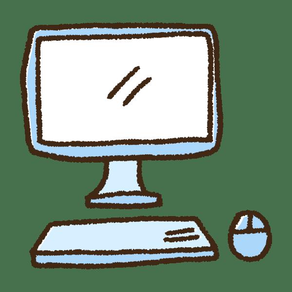 デスクトップパソコンとマウスの手書きイラスト素材 てがきちゃん