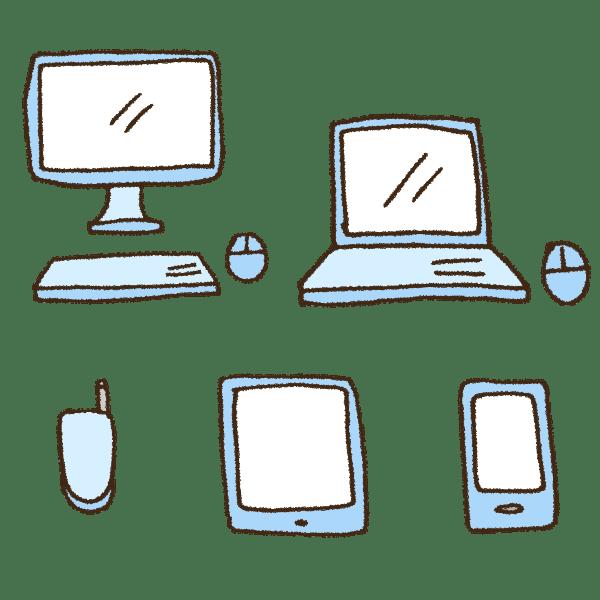 パソコンとスマホとタブレットとガラケーの手書きイラスト素材