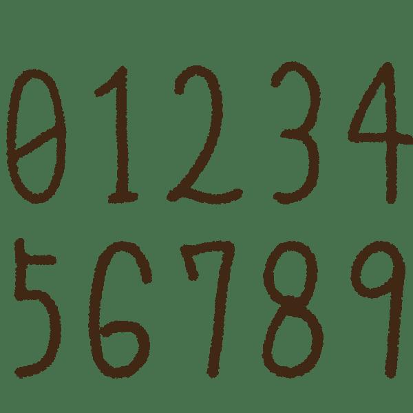 細長い数字の手書きイラスト素材