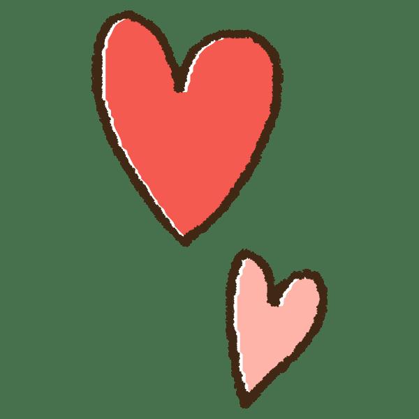 二つのピンクのハートの手書きイラスト素材